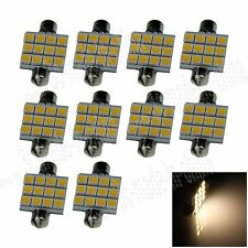 10X Warm White 41MM 12 5050 Festoon Dome Map Interior LED Light Roof Bulb I303