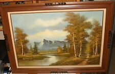 K.VINCENT ORIGINAL RIVER CREEK SNOW MOUNTAIN LANDSCAPE OIL ON CANVAS PAINTING