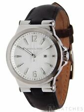 BRAND NEW WOMENS MICHAEL KORS (MK2601) BLACK LEATHER SILVER TONE WATCH SALE!