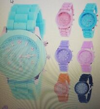 New Unisex Women Mens Geneva Silicone Jelly Sports Quartz Wrist Watch Pink