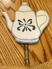 """✿ Blue & White Painted Coffee Tea Pot Wood Wall Plaque with Hook 8"""" Wooden Sign"""