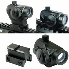 Tactical Reflex Red Green Dot Sight Scope w/ Dual High & Low Profile Rail Mounts