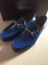 New $640 Gucci Men's Leather Shoes Blue 10.5 ( 11.5 US ) Italy