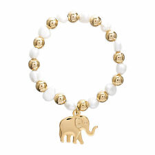 Gold-Tone Stainless Steel Bead and Freshwater Pearl Elephant Charm Bracelet