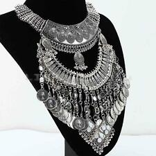 Women Bohemian Silver Tone Gypsy Chunky Coins Bib Statement Pendant Necklace