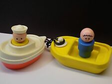 Vintage 1970's Fisher Price JUMBO Little People and Boats Bath Tub Toys NICE!