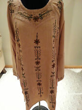 Kurti Long Sleeves Tunic Women Wear Embroidered Indian tan Top size M