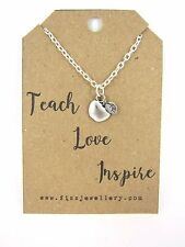 """Teacher Gift """"Teach Love Inspired"""" Silver Plated Apple Charm Necklace Message"""