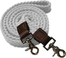 WESTERN HORSE WHITE COTTON ROPING REINS FOR TRAIL OR RODEO, BARREL RACING