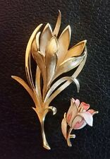 Vintage Trifari Brooch Pin Brushed Gold Plated Easter Lily Flower Signed 3.25 +1
