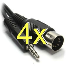 [4 pack] 5 pin DIN Male Plug to 3.5mm Jack 3.5 Cable Lead [002217]