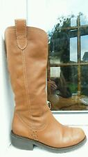 Next brown leather calf length boots 6