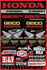 "D'Cor Team Geico Honda Decal Sheet 12""x18"" 40-10-114"