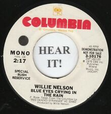 Willie Nelson 70s C&W 45-Columbia PROMO 3-10176-Blue Eyes Crying In The Rain M-