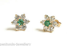 9ct Gold Emerald cluster stud earrings Made in UK Gift Boxed
