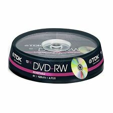 10 TDK DVD-RW 4.7GB (10 spindle) 120 mins DVDRW T19426