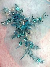 "Embroidered 3D Applique Turquoise Floral Sequin Ballet Patch 14"" (DH70)"