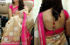 Designer Wear Double Blouse Cotton Lace and Latkan Work Saree