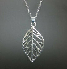 silver life tree leaf pendant alloy necklace women girl necklace friend gift !@