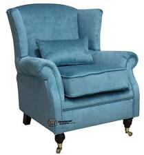 Ashley Fireside High Back Wing Armchair Perla Lagoon Blue Velvet Fabric
