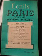 Ecrits de Paris - Décembre 1952