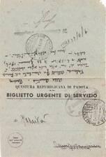 A7019) RSI, POLIZIA QUESTURA REPUBBLICANA DI PADOVA, BIGLIETTO DI SERVIZIO.