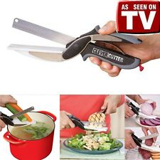 Hot Clever Cutter 2-in-1 Knife Cutting Board Scissor Kitchen Tools As Seen On TV