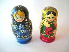RUSSIAN WOODEN NESTING DOLLS SET OF TWO