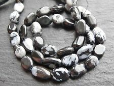 """*CLEARANCE*  2 x SNOWFLAKE OBSIDIAN OVALS, approx 6x8mm 14"""" strand, 40 beads"""