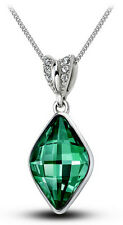 Elegant & Stylish Silver Emerald Green Rhombus Crystal Pendant Necklace N268