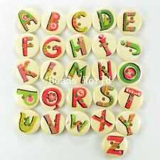 100 Wood Sewing Buttons Scrapbooking 2 Holes Mixed Christmas Letter Pattern 15mm