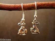 Ostara Hare Rabbit Earrings silver plated wiccan pagan jewellery pair easter