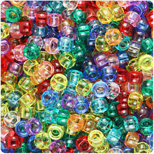 1000 Mixed Transparent 7mm Mini Barrel Plastic Pony Beads Made in the USA
