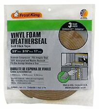 """FROST KING V443BH BROWN FOAM WEATHER STRIPPING TAPE ADHESIVE 3/8"""" X 3/16"""" 17FT"""