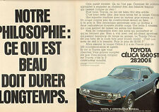 Publicité Advertising 1977  (Double page)  TOYOTA CELICA 1600 ST