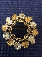 FB-2 Leaves Wreath 2-tone Brooch or Pin - Marked Sarah Co on back  2 inch dia.
