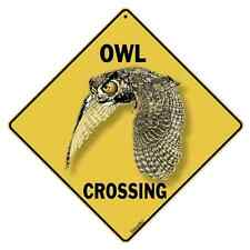 "Owl Metal Crossing Sign 16 1/2"" x 16 1/2"" Diamond shape Made in USA #148"