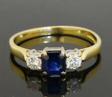 18ct Yellow Gold Three Stone Princess Cut Sapphire & Diamond Ring (Size U)