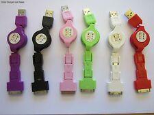 White USB MINI/Micro/Apple Iphone/Ipad/Ipod Universal Retractable Cable Lead