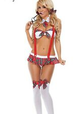 Sexy Damen Student Uniform Lingerie Costume Cosplay Nachtwäsche weiß Red