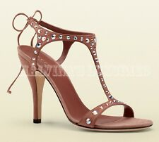 GUCCI SHOES YULIA PINK SUEDE LEATHER T-STRAP SANDAL WITH CRYSTAL STUDS 39.5 9.5