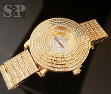 Men's Iced Out Urban Bling Hip Hop Techno King Gold Pt CZ Luxury Clubbing Watch