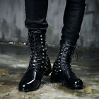 ByTheR Stud Combat Leather Boots Military Stylish Rock Unique P0000ZJF