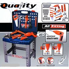Work Bench Workshop with Electronic Drill Kids 69 Piece Toy Tool Kit Play set