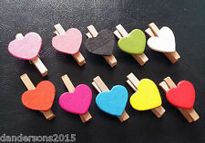Miniature Wooden Heart Pegs - 10 PACK - For wedding, birthday, celebration