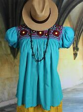Teal & Maroon Hand Embroidered Blouse Maya Chiapas Mexico Peasant Hippie Boho