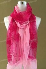 Bling Bead Hot Pink Flower Embroidery Lace Lovely Multi Color Soft Light Scarf