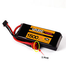 VOK Lipo RC Battery T-Plug for RC Helicopter Airplane Car 11.1V 1500mAh 3S 25C