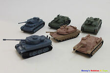 1 Set of Mini Plastic Tanks Model Kit (6 Different Tanks) Toy Soldiers Army Men