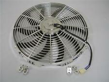 "16"" CHROME Street Rod Electric Cooling Fan + Relay Switch Kit S-Blade Fans"